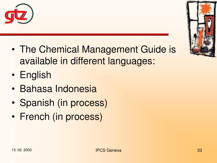 The Chemical Management Guide is available in different languages: