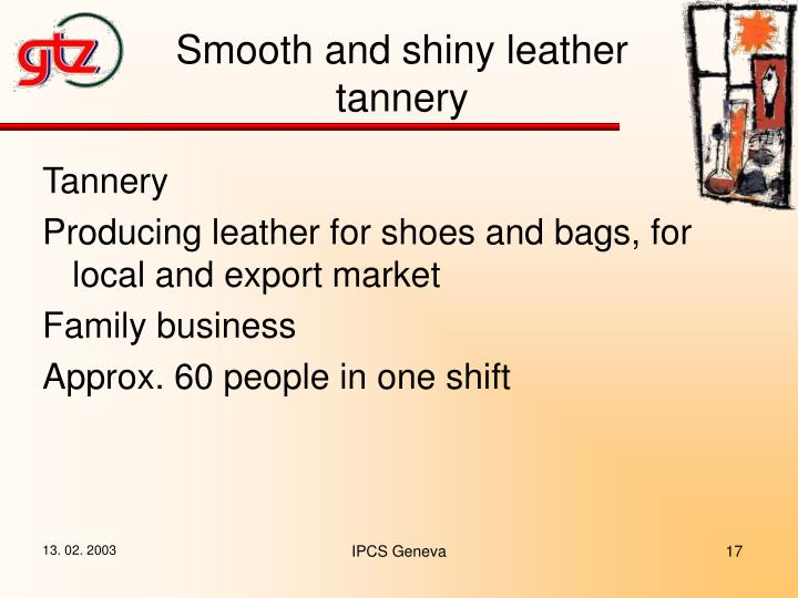 Smooth and shiny leather tannery