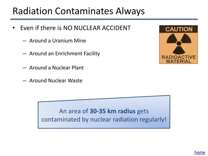 Radiation Contaminates Always