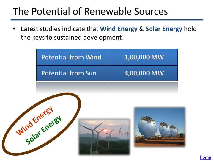 The Potential of Renewable Sources