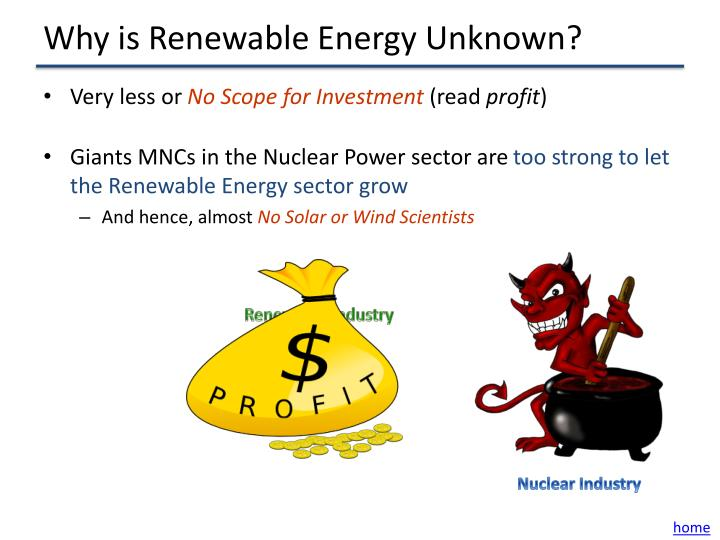 Why is Renewable Energy Unknown?