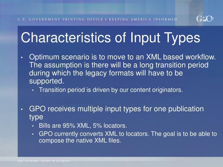 Characteristics of Input Types
