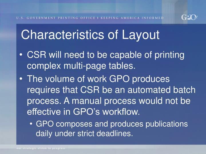 Characteristics of Layout