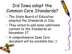 did iowa adopt the common core standards
