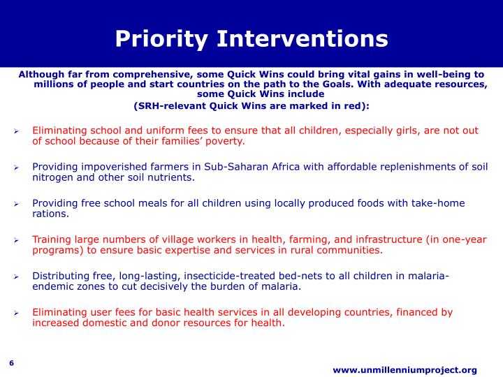 Priority Interventions