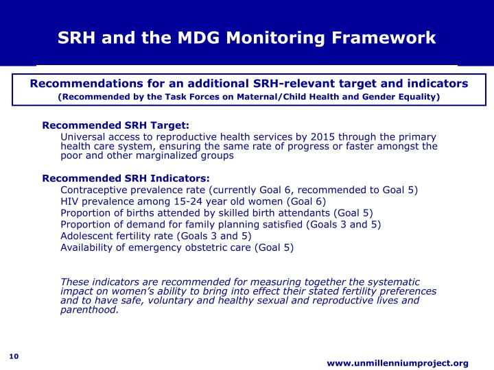 SRH and the MDG Monitoring Framework
