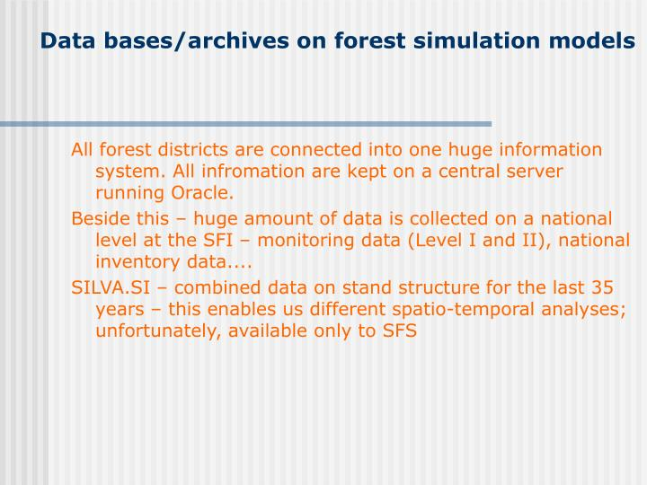 Data bases/archives on forest simulation models