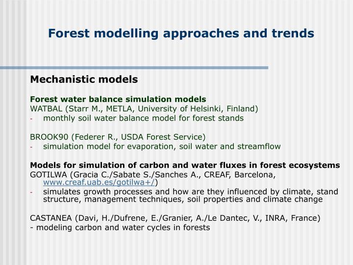 Mechanistic models