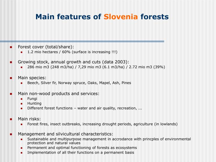 Main features of slovenia forests
