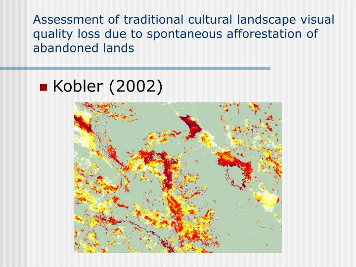 Assessment of traditional cultural landscape visual quality loss due to spontaneous afforestation of abandoned lands
