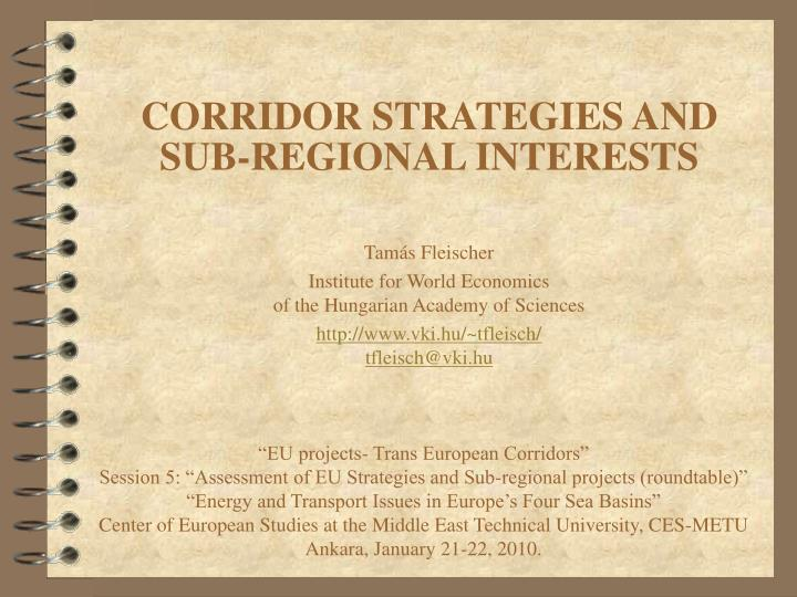 Corridor strategies and sub regional interests