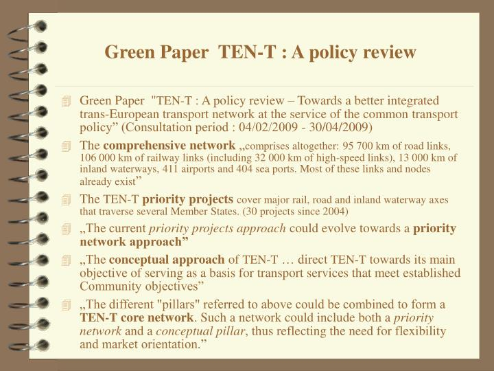 Green Paper  TEN-T : A policy review