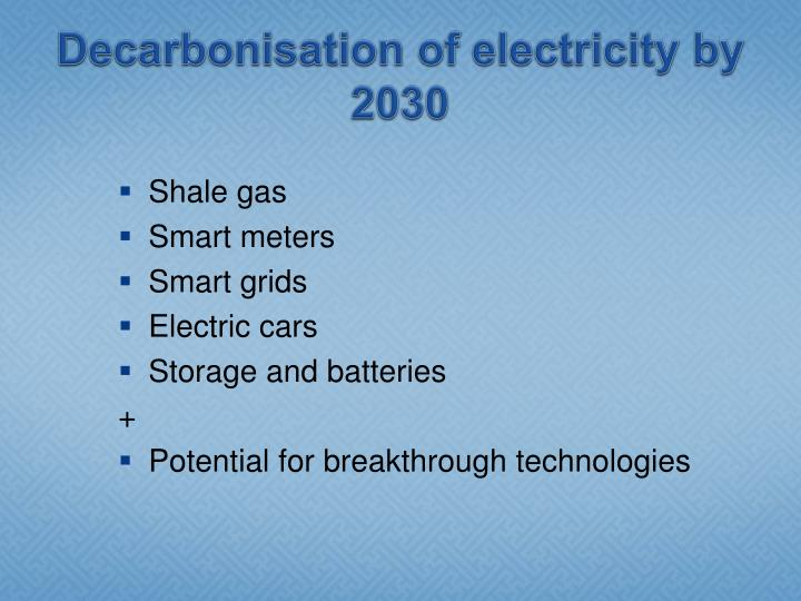 Decarbonisation of electricity by 2030