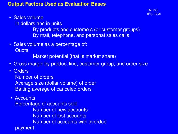 Output Factors Used as Evaluation Bases