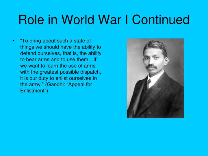 Role in World War I Continued