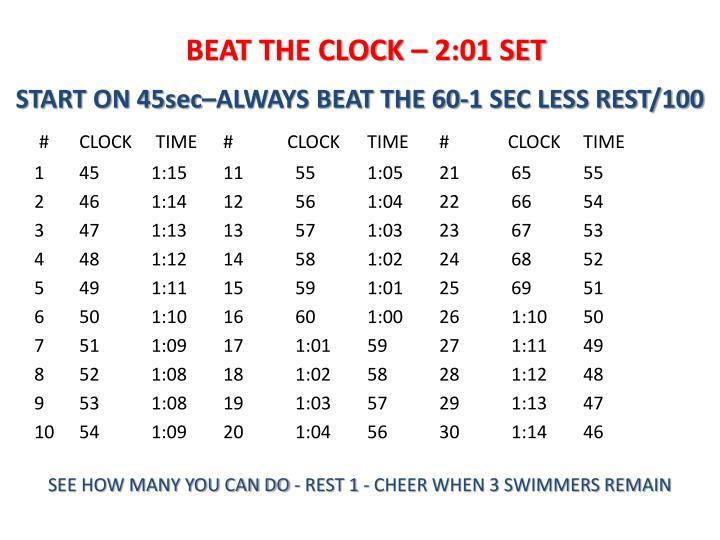 BEAT THE CLOCK – 2:01 SET