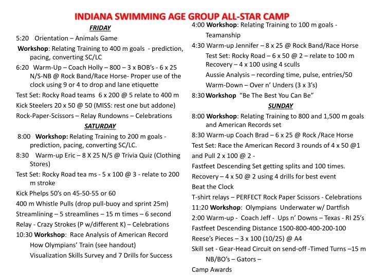 Indiana swimming age group all star camp