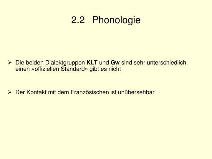 2.2 Phonologie