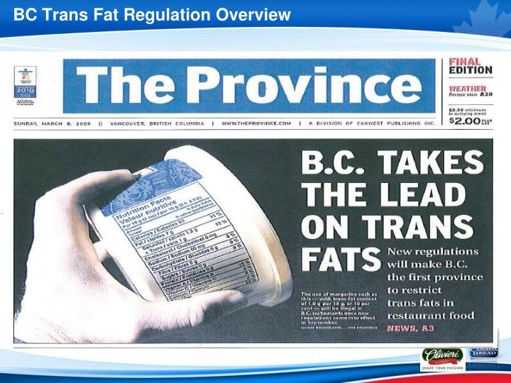 BC Trans Fat Regulation Overview
