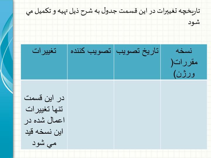 تاريخچه تغييرات در اين قسمت جدول به شرح ذيل تهيه و تكميل مي شود