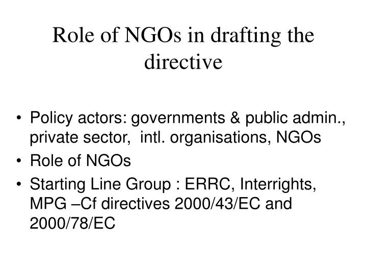 Role of NGOs in drafting the directive