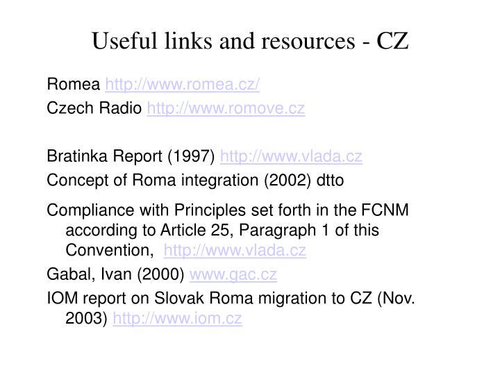 Useful links and resources - CZ