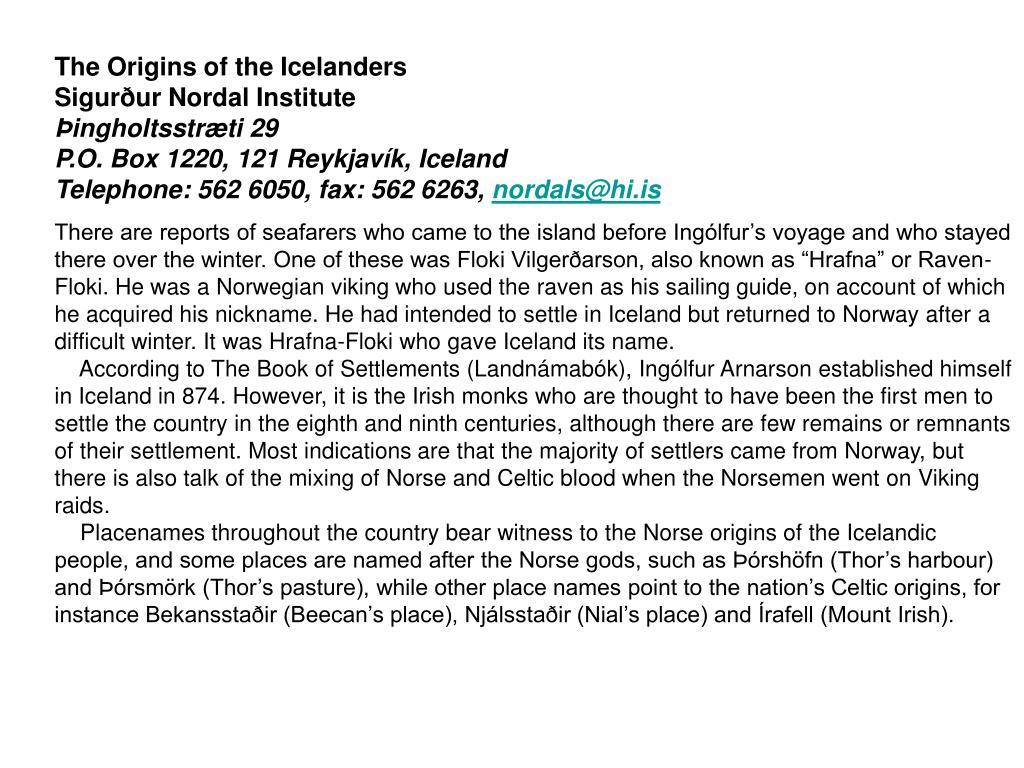 The Origins of the Icelanders