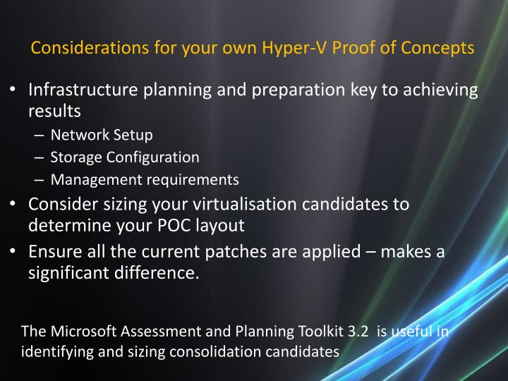 Considerations for your own Hyper-V Proof of Concepts