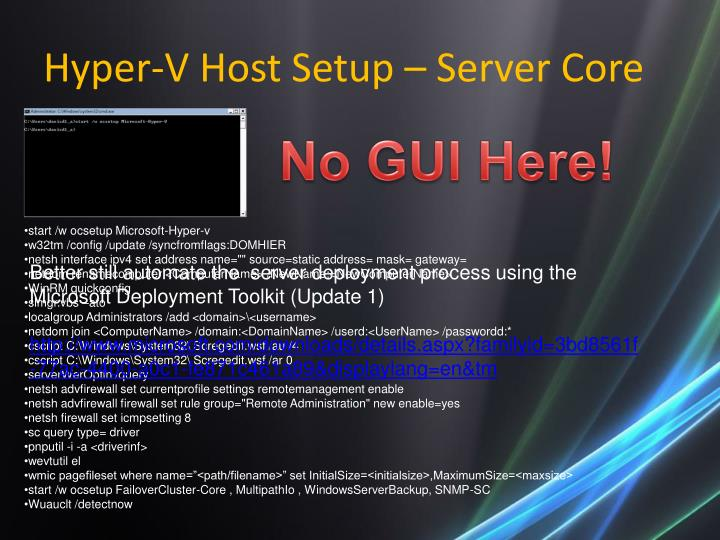 Hyper-V Host Setup – Server Core