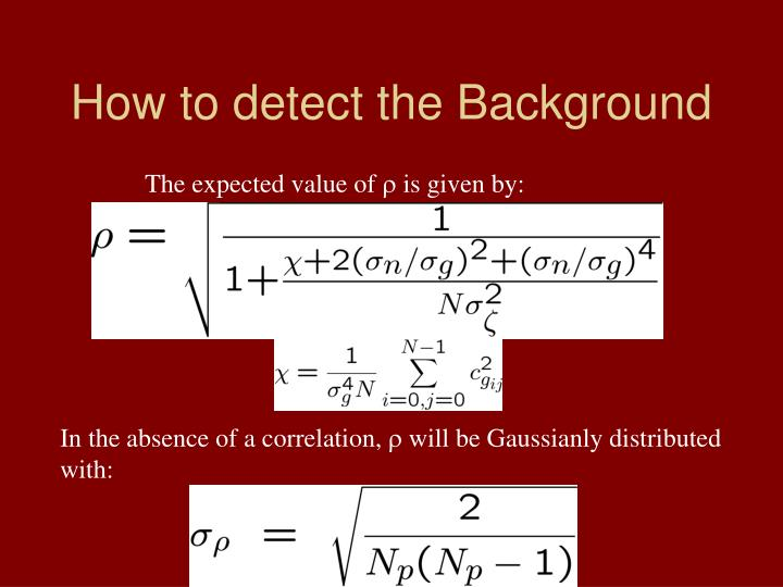 How to detect the Background