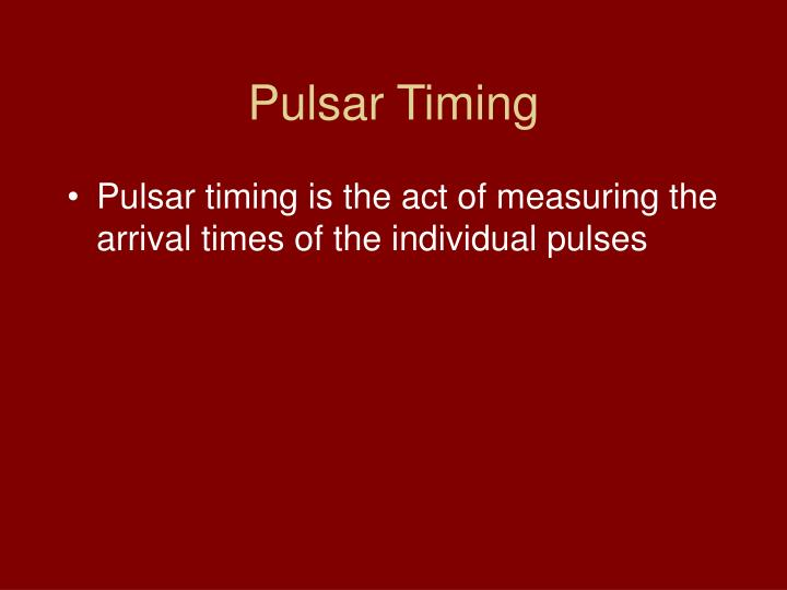 Pulsar Timing