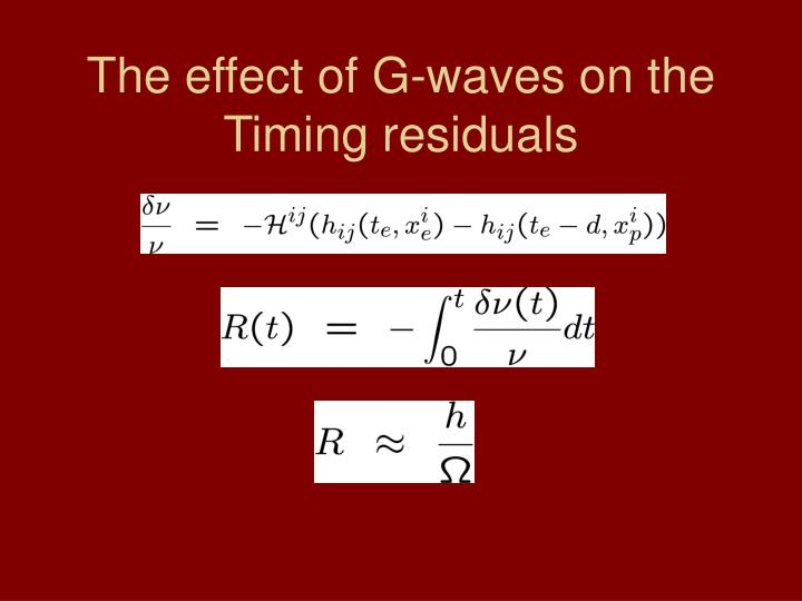 The effect of G-waves on the Timing residuals