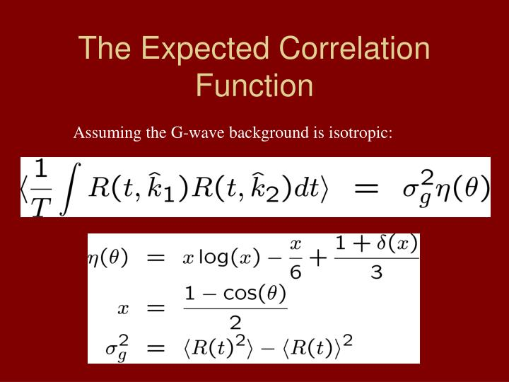 The Expected Correlation Function