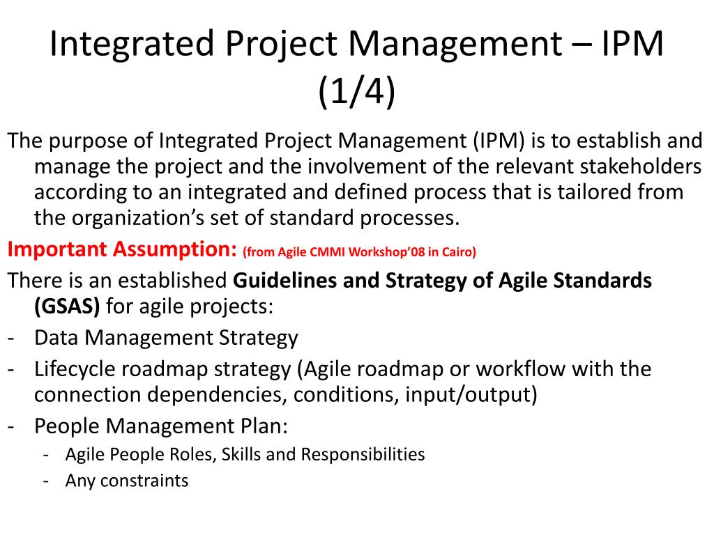 Integrated Project Management – IPM (1/4)