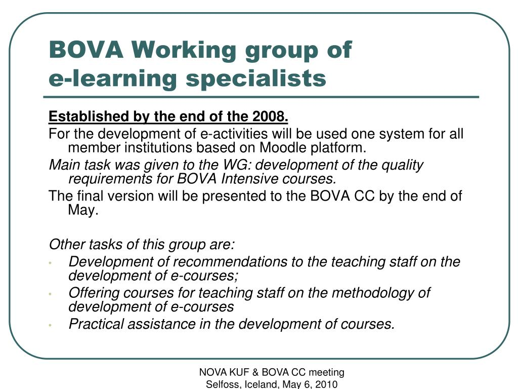 BOVA Working group of