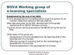 bova working group of e le a rning specialis ts