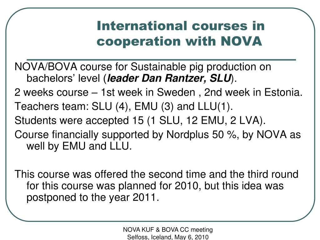 International courses in cooperation with NOVA