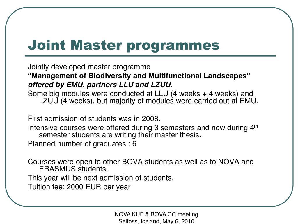 Joint Master programmes