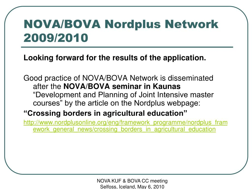 NOVA/BOVA Nordplus