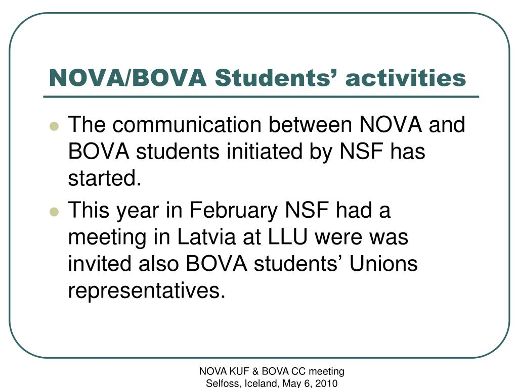 NOVA/BOVA Students' activities