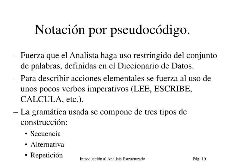Notación por pseudocódigo.