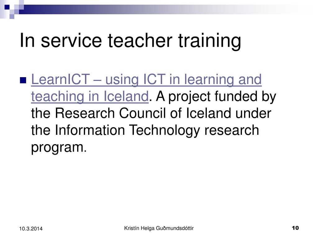 In service teacher training