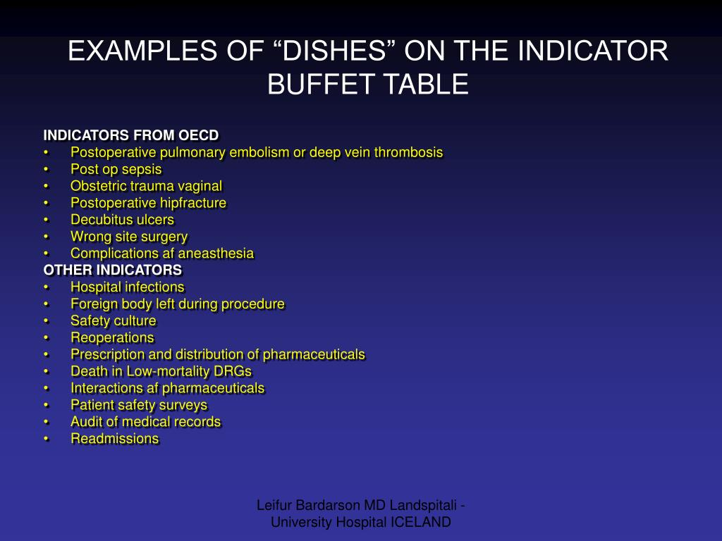 """EXAMPLES OF """"DISHES"""" ON THE INDICATOR BUFFET TABLE"""