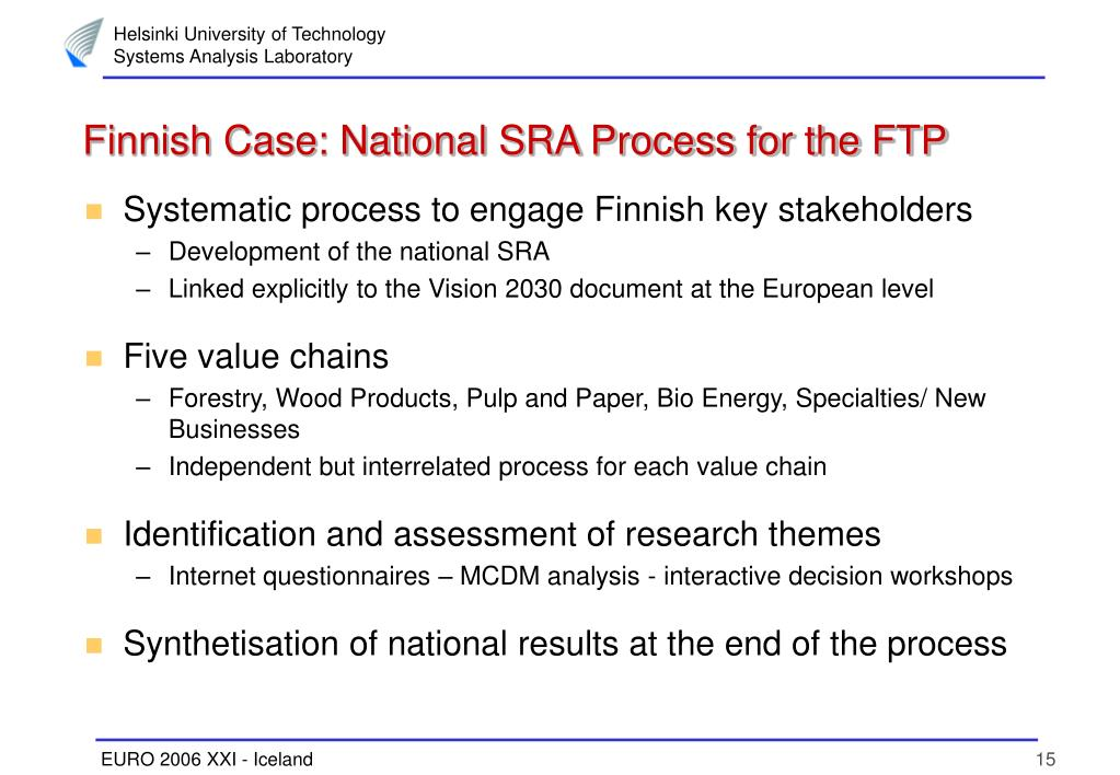 Finnish Case: National SRA Process for the FTP
