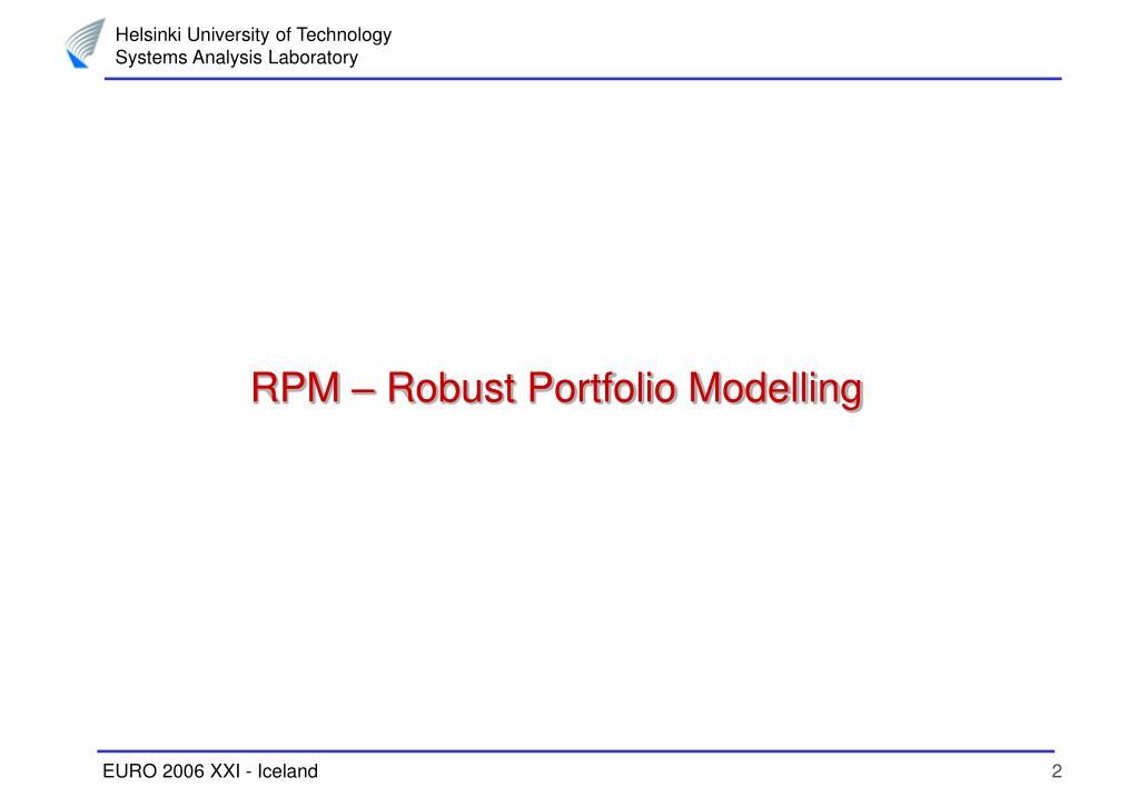 RPM – Robust Portfolio Modelling