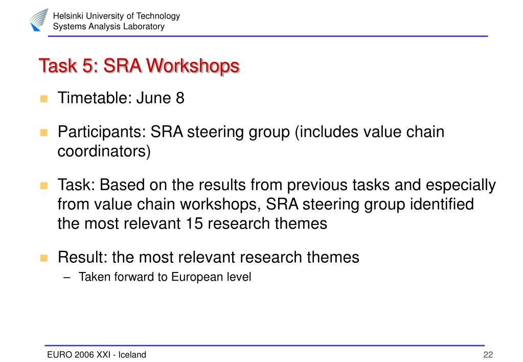 Task 5: SRA Workshops