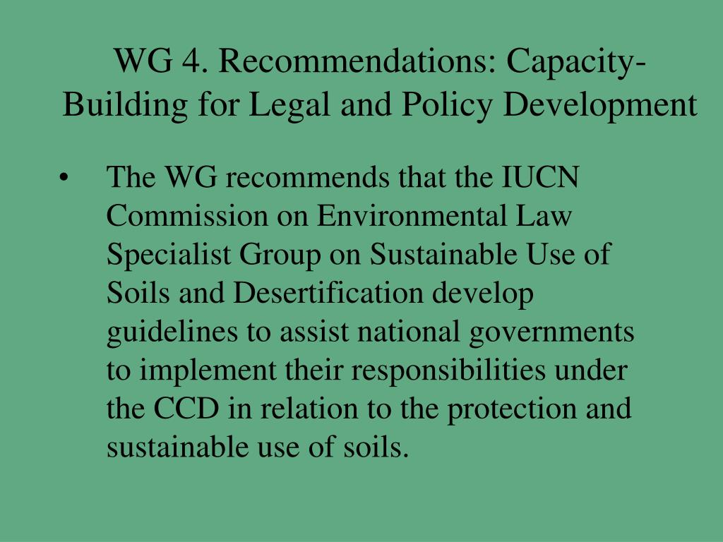 WG 4. Recommendations: Capacity-Building for Legal and Policy Development