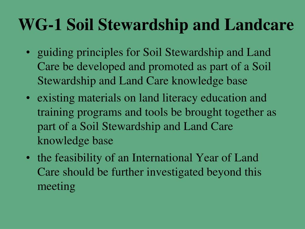 WG-1 Soil Stewardship and Landcare