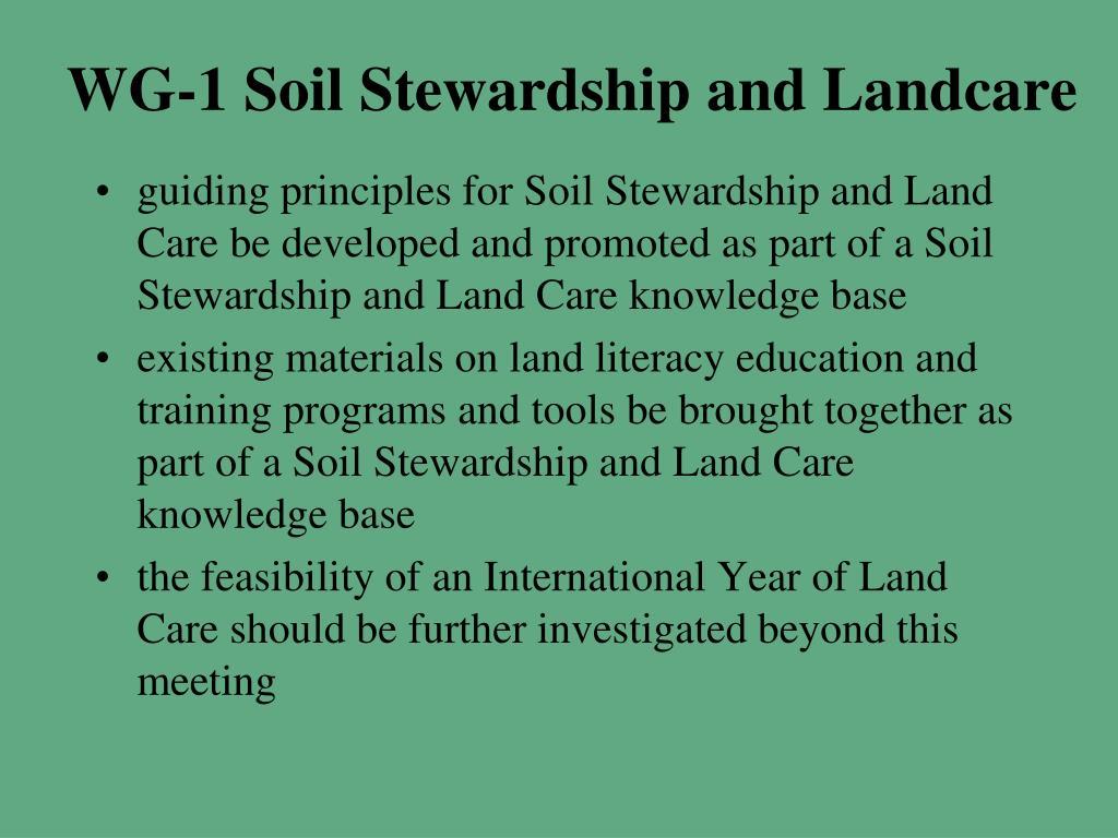 WG-1 Soil Stewardship and Landcare