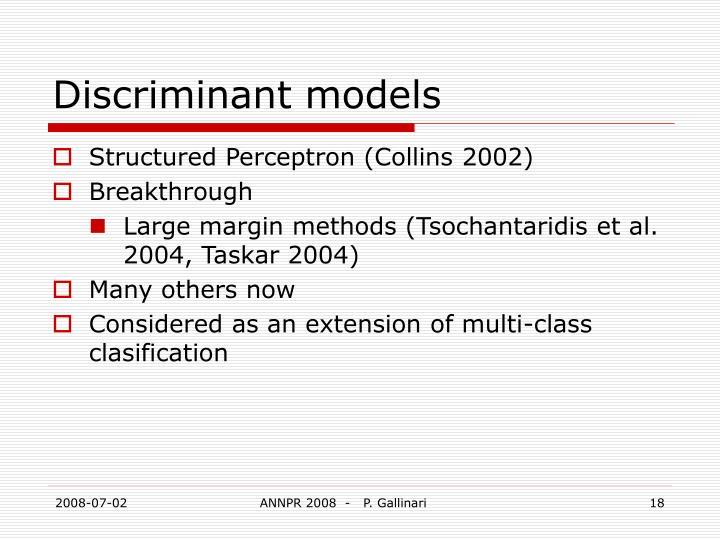 Discriminant models